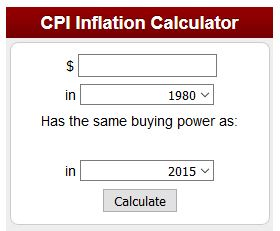 US Bureau of Labor Statistics Inflation calculator