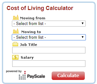 cost of living calculator by payscale
