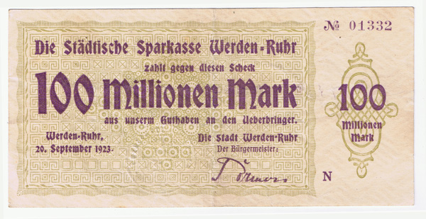 Weimar Hyperinflation 100 Million Marks