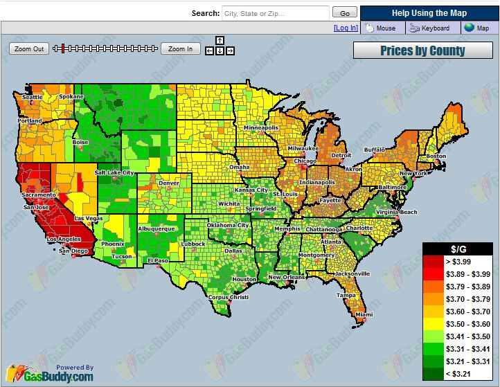 Current Average Cost Of Gas By County - Cost of living us map